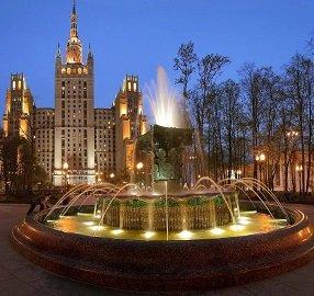 Кудринская площадь (сквер с фонтаном), метро Краснопресненская